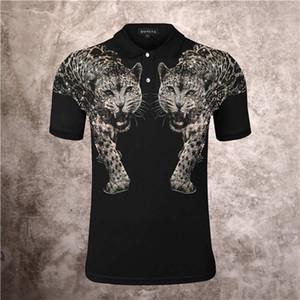2021 мужская мода двойной леопардовый горячий дрель носячий клуб PP мода личность поло рубашка лавочки с коротким рукавом футболка