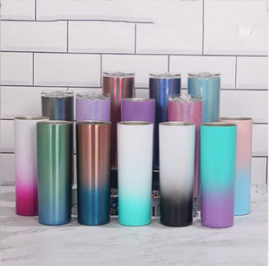20oz Stainless Steel Rainbow Paint Skinny Tumbler Cup Double Wall Insulated Tumbler with Lid and Straw Insulated Skinny Tumbler Cups