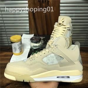 OFF-WHITE x air jordan 4 J 4 fw الشراع أحذية كرة السلة البيضاء الرجل حذاء رياضة أعلى جودة FW2020 النساء أحذية كرة السلة مع مربع حجم 36-46