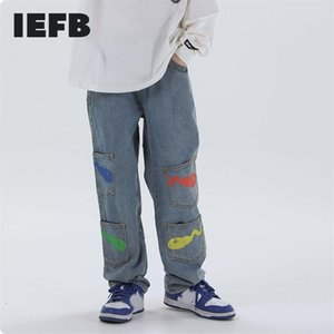 IEFB / Herren Wear Hip Hop Black Jeans Neue Mode Male's TADPOLE DRUCKED Multi-Pocket Casual Denim Pants High Street 9Y3235 201111