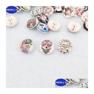 Really Hot Sale Many Skull Styles 18Mm Copper Snap Button Charm Button Rivca Snaps Jewelry Shipping 6Izzv