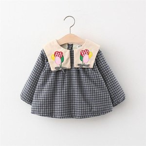 New Outfits Autumn Winter Girls Kids Dress Plaided Velvet Long Sleeve Children Baby Infants Princess Dresses Vestidos S11563