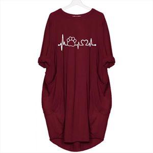 Paw Autumn And Winter Fashionpocket T Shirt for Women Dog Cat Heart Tops Tshirt Female T Shirt harajuku Punk large size 5XL