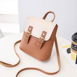 2020 New Leather Small Shoulder Bag Female Handbags Women Patchwork Colors Cross Body Purse Mobile Phone Messenger Bag