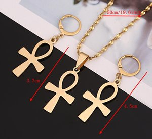 Egyptian Jewelry Vintage the Key of the Nile Ankh Cross Pendant Necklace Earring00