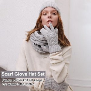 Women Men Gift Casual Outdoor Sports Winter Warm Soft Cable Knit Scarf Glove Hat Set Solid Snowboarding Windproof Daily Skiing1