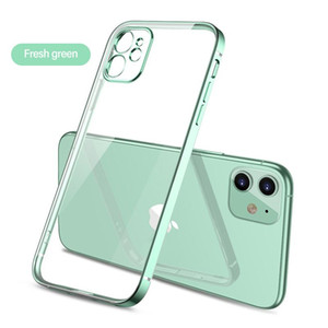 Ultra-thin Straight Edge Plating Transparent Silicone Phone Case For Iphone 11promax 11pro 11 Luxury Camera Protection Coque sqcAjW