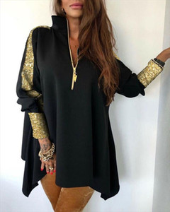 Women V Neck Sequins Patchwork Stand Zipper Design Long Sleeve Shirt Blouse Top Elegant Bodycon Slim Loose Dress Plus Size hot