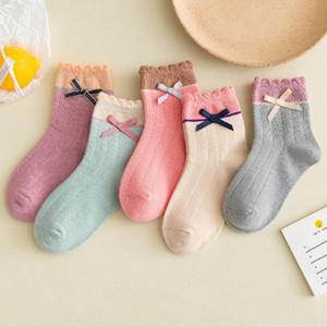 Baby Girl Princesse Chaussettes Bow Girls Coton Chaussette Soft Toddler Dentelle Chaussettes Bowknot Enfants Footscks Baby Vêtements 5 couleurs DW6240