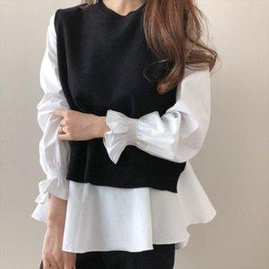 2020 Autumn Women white Ruffled Long Sleeve Shirt black O Neck Pullover Sleeveless Vest Office Casual Knitted Vest 2 Piece Set