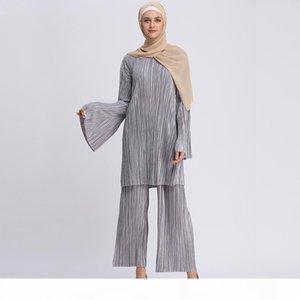 Plus Size Abaya Bangladesh Muslim Hijab Two Piece Set Pleated Long Sleeve Top & Pants Abayas For Women Turkish Islamic Clothing