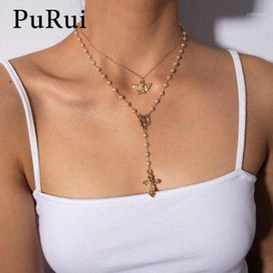 Cross Necklaces Women Layered Angel Pendant Rosary Necklace Imitation Pearl Beads Long Chain Choker Necklace Jewelry1