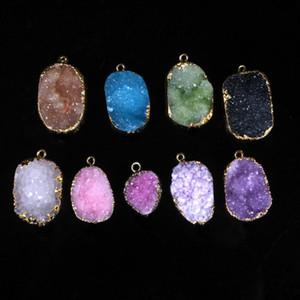 Seven Chakra Gold Color Edge Freeform Natual Druzy Drusy Beads Pendant Necklace Raw Geode Quartz Crystal Gem-stone Nekclace 2Pcs