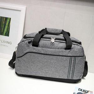 Homens Mulheres Canvas Viagens Bolsas Grande Capacidade Bagagem Bagagem Unisex Sports Gym Saco Sólido Cor Duffle Bags Saco de Ombro XA417F