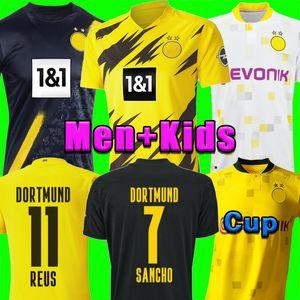 Haaland Reus Borussia 20 21 Jersey de football de Dortmund 2020 2021 Chemises de football Bellingham Sancho Hummels Brandt Hommes + Kids Kit Maillot de pied