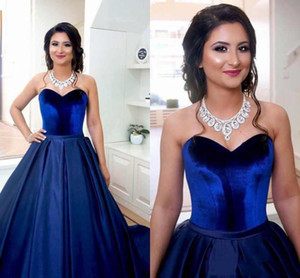 2021 Royal Blue Top Velevet Quinceanera Dresses Satin Ball Gown Sweet 16 Girls Prom dresses Sweet 16 Plus Size Party Prom Evening Gown