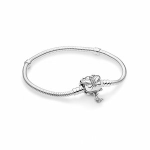 925 Sterling Silver Moments Decorative Butterfly Clasp Bracelet Fits For European Pandora Bracelets Charms and Beads