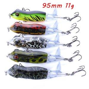 1pc 7 Color Mixed 95mm 11g Frog Hard Baits & Lures Fishing Hooks Fishhooks 6# Hook Pesca Fishing Tackle KL_IU19