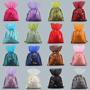 Chinese Embroidery Organza Bag Christmas Gift Bags Drawstring Wedding Party Favor Bags Pouch