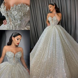 Sparkle Sequins vestidos de novia 2021 Wedding Dress Sweetheart Beading Bridal Gowns Backless Princess robe de mariee