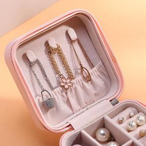Caja de joyería de PU MONEOLAYER Caja de joya de la oreja Partamentos con cremallera Caja de almacenamiento Adornos Joyas Cajas de anillos de joyería Bins GGA3826-3