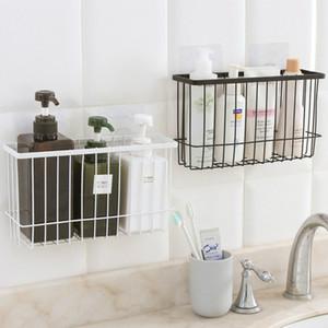 Bathroom Iron Storage Rack Suction Cup Toilet Bathroom Shower Shelf Organizer Kitchen Storage Sticker Type Z1123