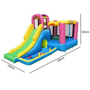 Jardim suplemo doméstico casa inflável saltar casa com coluna de obstáculo combinação miúdos saltando slide pátio ao ar livre jogar engraçado