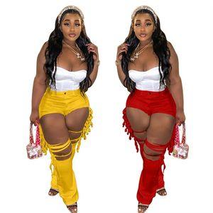 Soild Farben Frauen Mode Loch Flaschung Jeans Frühling Sommer Damen Trendige Leggings Hosen Kleidung Skinny Hosen Plus Größe S-3XL H12102