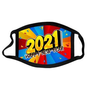 2021 Happy New Year Masken Masken Frohe Weihnachten Gesichtsmaske Mode Atmungsaktive Wiederverwendbare Druck Baumwollmasken Neues Jahr Gesichtsmaske YYA553