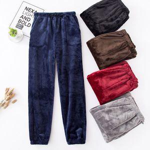 New Winter Flannel Mens Sleep Bottoms Thicken Warm Sweatpants Mens Pajamas Pants Comfort Slacks Pijamas Couple Casual Trousers