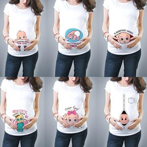 New Cute Pregnant Maternity Clothes Casual Pregnancy T ShirtsBaby Print Funny Pregnant Women Summer Tees Pregnant Tops