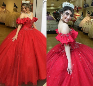 2021 Red Quinceanera Dresses Off The Shoulder Lace Beading Sequins Crystal Lace-up Tulle Ball Gown Sweet 16 Dress Vestidos De Festia