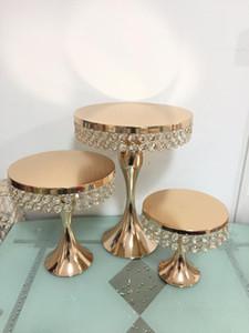 2020 Pastel de decoración de pastel de bastidor Torta de cristal Soporte de oro para mesa de boda Centros de mesa Decoración Magcake Macarron Stand