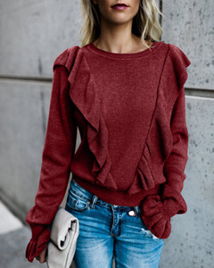 Women Flare Sleeve T Shirt Ruffle Crew Neck Panelled Knit Tees Ladies Solid Color Top