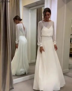 Two Pieces Bohemian Simple Long Sleeves Wedding Dress A Line Open Back Modest Plus Size Custom Made Women Chiffon Bridal Gowns
