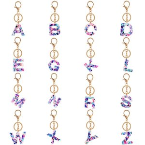 Women Keychain Colorful Hollowed-out Words Handbag 26 English Letter Keyring Creative Cute Initial Resin Acrylic Key Chains
