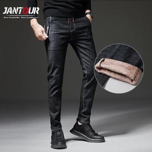 Jantour Winter Men's Warm Jeans Classic Anti-theft Pocket Thicken Denim Slim Fit BlackJean Pants Male Business Blue Trousers 38