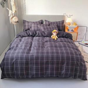 2020 summer bedding set geometry duvet cover flat sheet modern bed linen set stripe grid bed set AB side home textile pillowcase Q1127