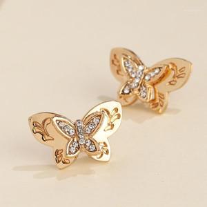 Aoteman 2020 Pendientes de la nueva mujer Fashion Zircon Cubic Butterfly Stud Pendientes Insecto Metal Declaración Joyería para niñas