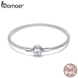 BAMOER Classic 100% 925 Sterling Silver Love Forever Love Snake Chain Bracelets Women Sterling Silver Jewelry 17CM 19CM SCB105 B1203