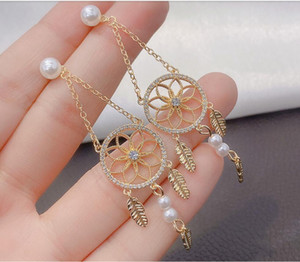 2020 The new Bohemian style pearl And Pearl Flash Diamond ring stud earrings street snap as a travel and play gift 383