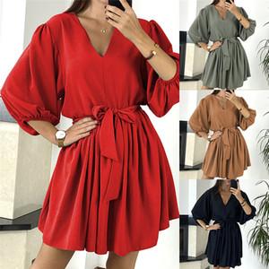 21FW Vestidos de diseñador para mujer Moda Impresa vestidos informales para mujer suelta talla grande sobre la tripulación de la rodilla Vestidos de cuello