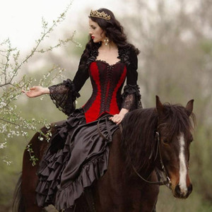 Princess Black And Red Gothic Wedding Dresses Corset Medieval Victorian Steampunk Country Wedding Dress Sweetheart Queen Jacket Bridal Gowns