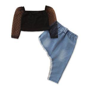 Girl's Set Tops+skirt Mesh Sleeve Denim Children 2pcs Set Fashion Casual Summer Irregular Kids Suits 90 100 110 120 130