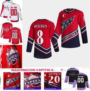 Henrik LundQvist Washington Capitals 2021 عكس الرجعية جيرسي اليكس أوفيكين جون كارلسون T.j. Oshie Kuznetsov Jakub Vrana Wilson S-6XL