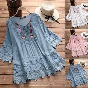 2020 ZANZEA Plus Size Lace Top Womens Embroidery Blouse Female 3 4 Flare Sleeve Shirt Female Casual Patchwork Blusa Woman Tunic