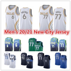 Men's Luka 77 Jersey Doncic Green 2021 New blue navy Kristaps 6 Porzingis Dirk 41 Nowitzki City White Edition Basketball Jerseys