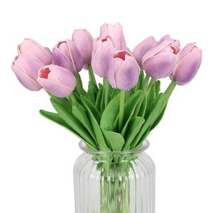 18 22 24 30pcs Artificial mini tulip flower real touch wedding flower bouquet artificial silk flowers for home party decoration