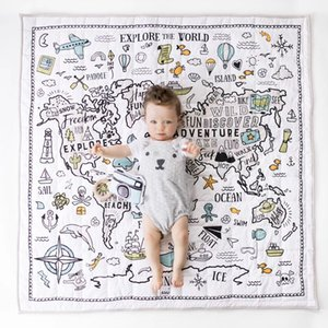 Children's Rug Room New Decoration World Adventure Map Mat Baby Play Game Crawling Puzzle Mat Air Conditioning Blanket Kids Toys Z1123