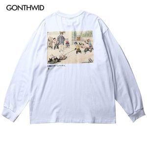 GONTHWID Funny Cats Tug of War Print Long Sleeve Cotton Tees Shirts Harajuku Hip Hop Casual Tshirts Tops 2020 Men Streetwear Top X1214